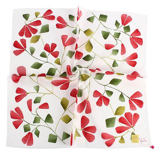 Sybilla 茉莉花花朵圖案純綿帕領巾(紅色)989164-91