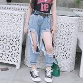 女童牛仔褲 配腰帶女童洋氣褲子夏季兒童寬鬆破洞牛仔褲時尚乞丐褲子潮-Ballet朵朵