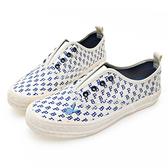 PLAYBOY玩色滿版PB印花懶人鞋-白藍(Y6209)