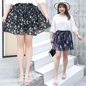 ★韓美姬★中大尺碼~甜美雪紡百褶褲裙(XL~4XL)