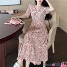熱賣大碼洋裝 大碼女裝中長款碎花大擺連身裙女夏裝胖妹妹短袖V領過膝長裙200斤 coco