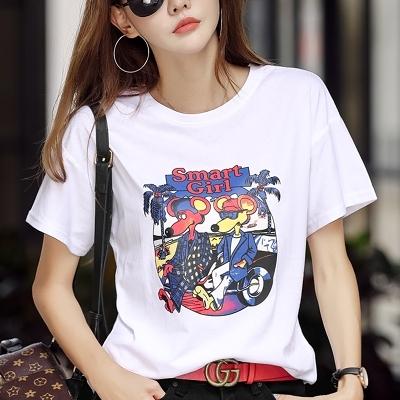 t恤 韓版打底衫夏季新款大碼女裝寬松短袖t恤女百搭卡通韓版半袖上衣打底衫H412-A.1號公館