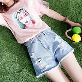 2018夏季新款韓版寬鬆破洞磨邊女士牛仔短褲女闊腿褲女裝褲子 【PINK Q】
