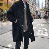 純黑色港風青少年燈芯絨立領帥氣中長款風衣男秋冬新款大衣外套潮洛麗的雜貨鋪