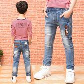 萬聖節狂歡   男童牛仔褲長褲春秋夏裝中大童裝兒童褲子薄淺色男孩修身小腳褲潮  無糖工作室