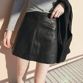 高腰黑色大尺碼PU小皮裙女a字裙包臀裙拉鍊半身裙短裙 【降價兩天】