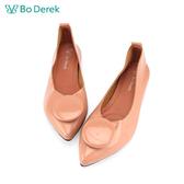 Bo Derek 造型飾扣漆皮平底鞋-粉膚色