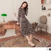 《DA8288-》浪漫花卉印花高腰裙襬壓褶附綁帶長洋裝 OB嚴選
