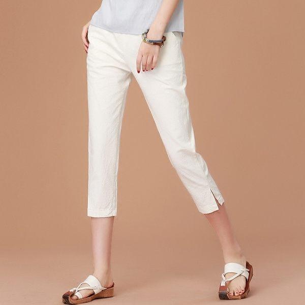 漫步生活☆[B82067] 白色開岔休閒七分褲(M~XL)