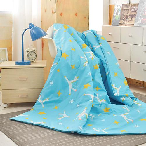 『初涼首選』義大利Fancy Belle X Malis《小飛馬-粉藍》純棉吸濕透氣涼被(5x6.5尺)MIT
