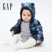 Gap嬰兒 布萊納系列 可愛熊耳刷毛連帽羽絨外套 703923-藍色迷彩