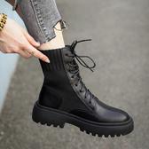 顯腳小的彈力瘦瘦靴子2020秋季新款百搭英倫馬丁靴粗跟機車短靴女