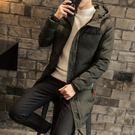 夾克外套-連帽冬季中長版保暖純色夾棉男外套2色73qa4[時尚巴黎]