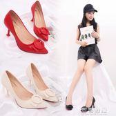 小清新高跟鞋少女單鞋子細跟紅色婚鞋貓跟鞋百搭秋季 流行花園