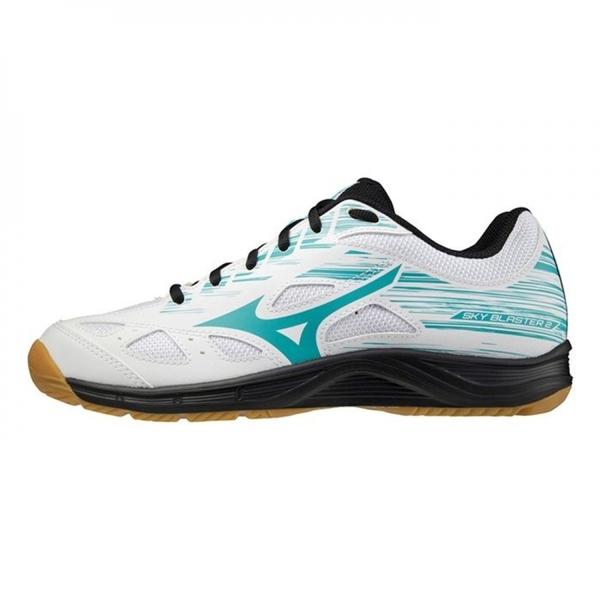 Mizuno Sky Blaster [71GA204534] 羽球鞋 男鞋 運動 透氣 耐磨 止滑 寬楦 白 湖水綠
