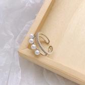 時尚網紅個性小眾設計戒指女日式輕奢少女冷淡風開口珍珠  育心小館