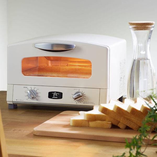 日本Sengoku Aladdin 千石阿拉丁「專利0.2秒瞬熱」4枚焼復古多用途烤箱(附烤盤) AET-G13T-白