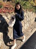秋冬韓版新款chic修身顯瘦中長款半高領毛衣裙長袖連身裙女裝 雅楓居