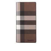 【BURBERRY】Check E-canvas 格紋直式長夾(暗樺木棕色) 8036670 A8900