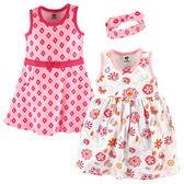 美國Luvable Friends 女寶寶 短袖裙子&連身裙&髮飾 三件式套裝 白花朵【LU55230】