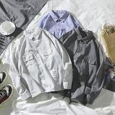夏季新款條紋長袖襯衫男士港風韓版寬鬆衣服百搭休閒襯衣潮流     韓小姐