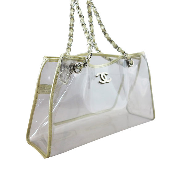 【CHANEL】灰色邊銀PVC透明肩背包 11248760