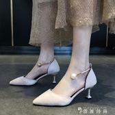 高跟涼鞋女夏季新款一字扣帶單鞋女歐美細跟百搭小清新高跟鞋 薔薇時尚