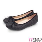 娃娃鞋-TTSNAP MIT全真皮晶鑽閃亮蝴蝶結柔軟平底鞋 黑