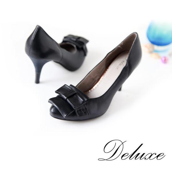 Deluxe-簡約折疊結層次包頭高跟鞋-黑