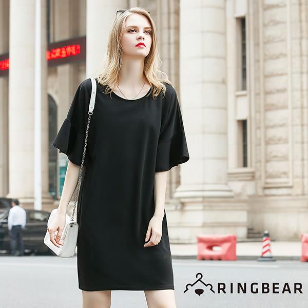 雪紡--氣質高雅雪紡荷葉邊傘襬造型寬袖口圓領洋裝(粉.黑L-3L)-D268眼圈熊中大尺碼