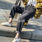 大碼顯瘦哈倫小腳直筒牛仔褲女老爹褲子女春秋學生韓版寬鬆 快速出貨