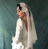 新娘寫真復古韓式簡約仙女頭紗花朵軟紗頭紗