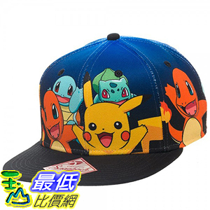 [美國直購] 神奇寶貝 精靈寶可夢周邊 BIOWORLD B00USMQ66W Pokemon The Original Starters Blue Gradient Snapback Cap