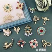 復古巴洛克西洋古董胸針 亞金珍珠王冠宮廷寶石氣質別針胸花配飾 金曼麗莎