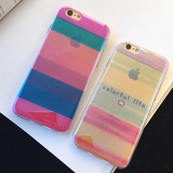 6S 免運 小清新簡約線條彩虹TPU軟保護套iphone6 plus 6Splus 5S SE