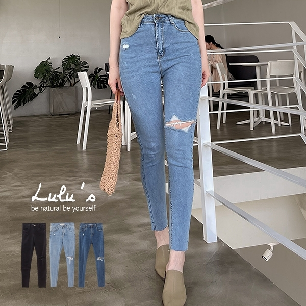 LULUS-Y類韓組-小破壞單膝破窄管牛仔長褲S-XL-3色 【04011268】
