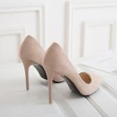 高跟鞋高跟鞋女細跟黑色絨面禮儀鞋正裝單鞋新款氣質百搭韓版舒適工作鞋 伊蒂斯