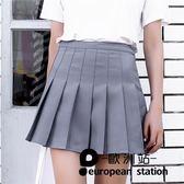 短裙 a字裙百褶裙女高腰半身裙女格子「歐洲站」