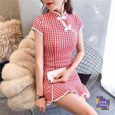 旗袍 夏少女清新紅格子魚尾短旗袍復古文藝改良年輕甜美學生荷葉邊旗袍 S-L