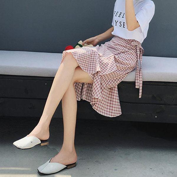 不規則格子魚尾裙半身裙夏女高腰新款裙子中長款荷葉邊包臀裙  Cocoa