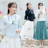 2018春夏新款傳統中國風民族風女裝文藝復古棉麻繡花上衣 DN6959【Pink中大尺碼】