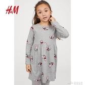HM童裝女童兒童裙子春裝新款圖案純棉連身裙女0824452(聖誕新品)