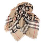 BURBERRY Horseferry印花格紋羊毛真絲披肩圍巾(典藏米色)089544