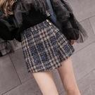 褲裙女秋冬裝2020年新款女高腰顯瘦闊腿短褲格子毛呢百搭A字褲子 黛尼時尚精品