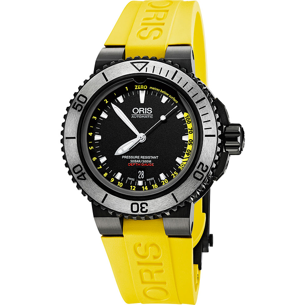 ORIS 豪利時 Aquis Depth Gauge深度測量潛水套錶-IP黑/46mm 0173376754754-SETRS