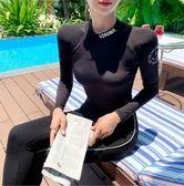 韓國潛水服  女分體泳衣防曬顯瘦三件套  長袖保守沖浪浮潛服  防水母衣