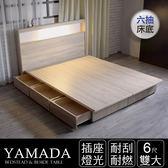 IHouse-山田 日式插座燈光房間二件組(床頭+收納床底)-雙大6尺