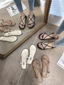 沙灘鞋 2019新款涼鞋女夏平底夾腳學生韓版百搭海邊度假羅馬沙灘鞋仙女風 簡而美