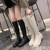 長靴 顯瘦小個子長靴女不過膝2021年新款騎士靴網紅瘦瘦靴子中筒靴高靴 嬡孕哺 新品