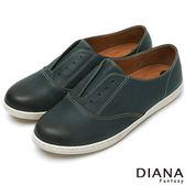 DIANA 超厚切布朗尼少女款--仿鞋帶風格真皮平底鞋-藍 ★零碼出清只供退貨恕無法換貨★